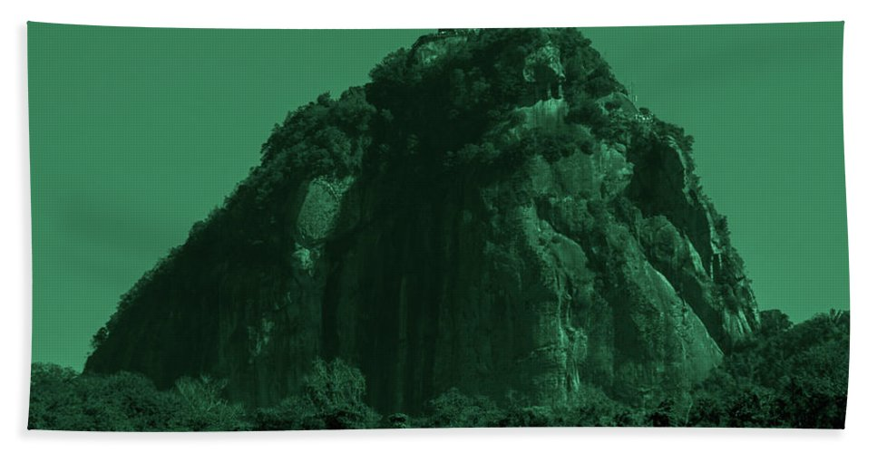 Interiors Hand Towel featuring the photograph Christ The Redeemer In Green Sky by Fabio Sola