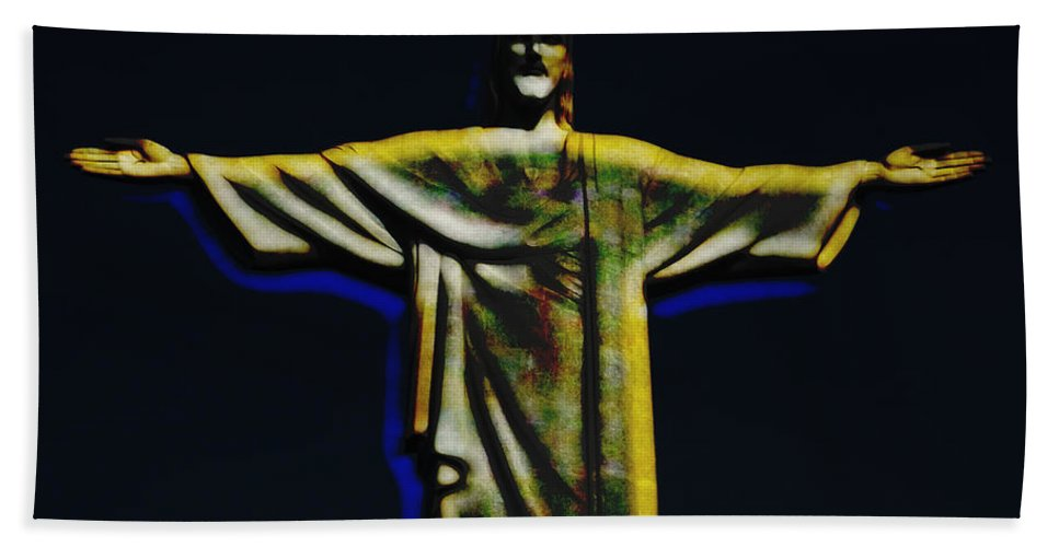 Christ Hand Towel featuring the photograph Christ The Redeemer - Rio by Ericamaxine Price