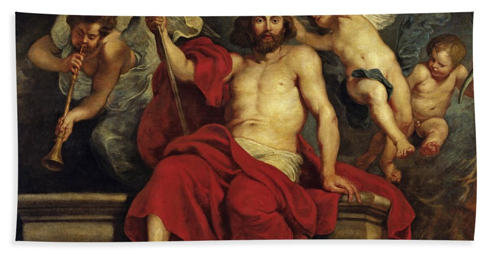 Peter Paul Rubens Hand Towel featuring the painting Christ Triumphant Over Sin And Death by Peter Paul Rubens
