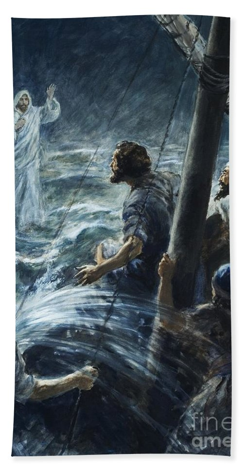 Christ; Jesus; Sea Of Galilee; Walking On Water; The Bible; Sailors; Thee Of Little Faith; Lightning; Storm; Water Hand Towel featuring the painting Christ Walking On The Sea Of Galilee by Henry Coller