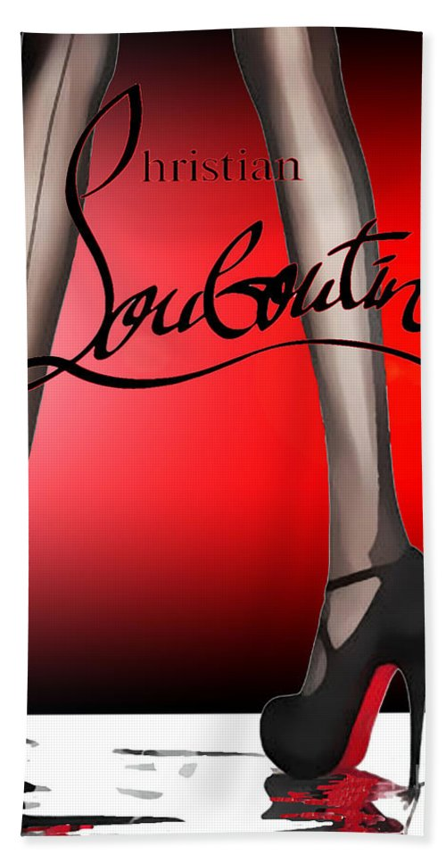 53f2e8a61 Christian Louboutin Bath Towel featuring the mixed media Christian  Louboutin Poster Red by Del Art