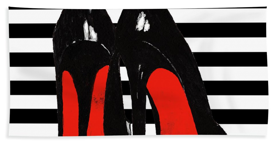 bf55cb9223c0 Christian Louboutin Shoes Hand Towel featuring the painting Christian  Louboutin Shoes Black by Del Art