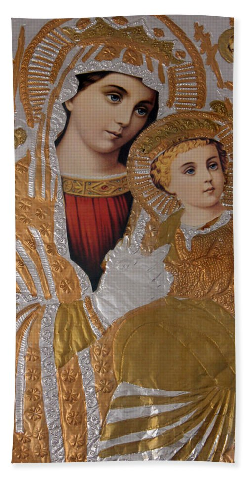Christians Hand Towel featuring the photograph Christianity - Mary And Jesus by Munir Alawi