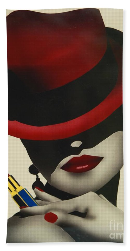 Christion Dior Red Hat Lady Bath Towel featuring the painting Christion Dior Red Hat Lady by Jacqueline Athmann