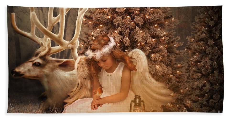 Fantasy Hand Towel featuring the digital art Christmas Angel by Babette Van den Berg