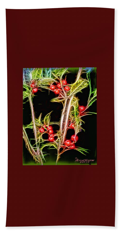 Berries Hand Towel featuring the photograph Christmas Berries by Ericamaxine Price