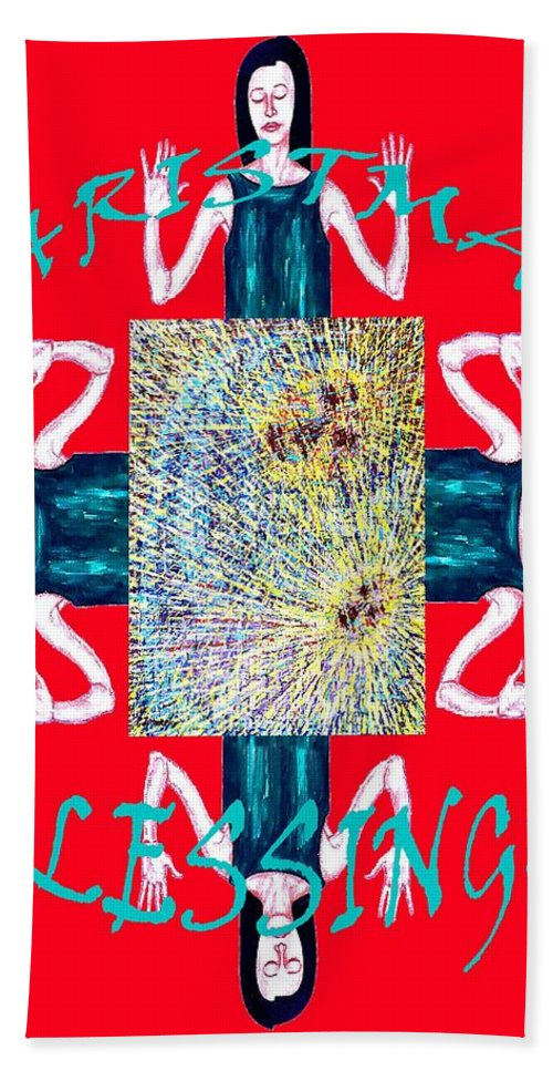 Christian Bath Sheet featuring the painting Christmas Blessings 3 by Patrick J Murphy