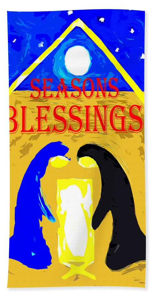 Christian Bath Sheet featuring the painting Christmas Blessings 5 by Patrick J Murphy