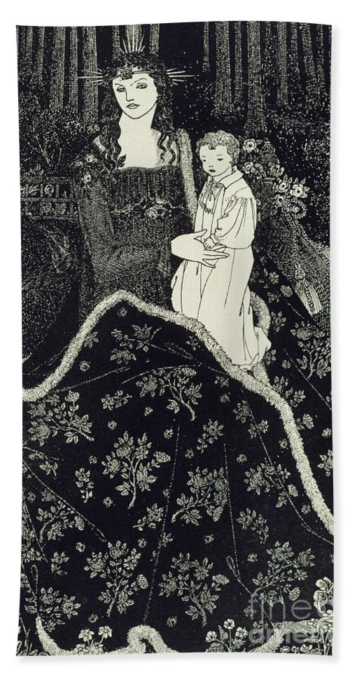 Art Nouveau Bath Sheet featuring the drawing Christmas Card by Aubrey Beardsley