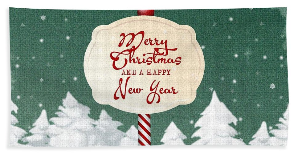 Decoration Bath Sheet featuring the mixed media Christmas Card by FL collection