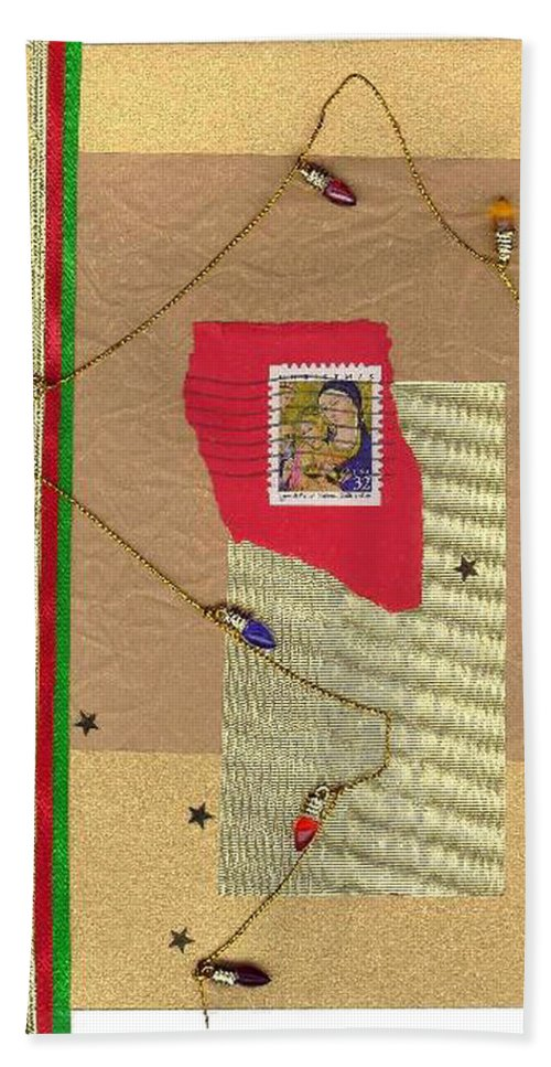 Christmas Hand Towel featuring the mixed media Christmas Card by Steve Karol