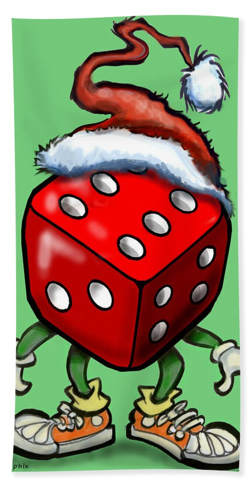 Christmas Hand Towel featuring the greeting card Christmas Casino Party by Kevin Middleton