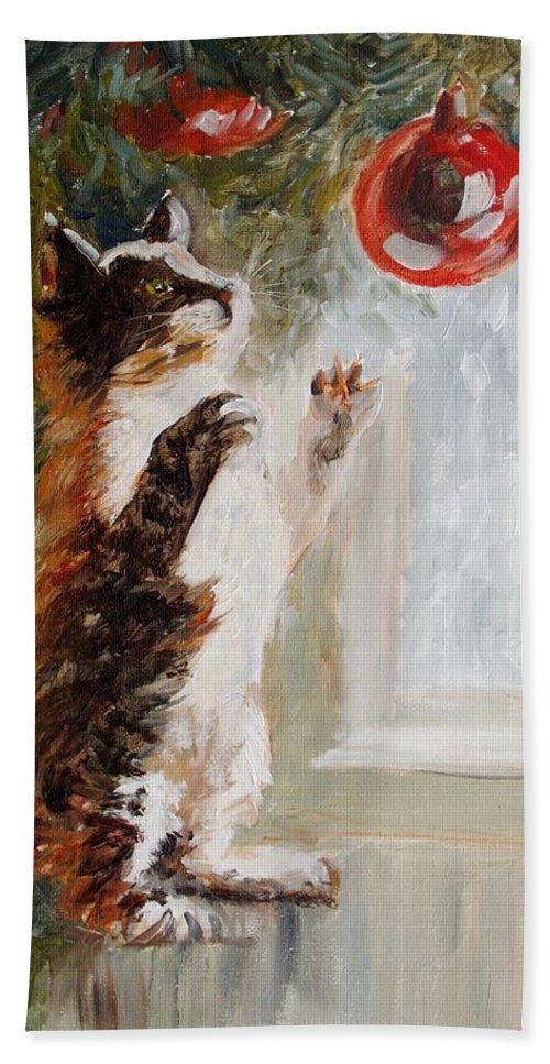Christmas Bath Sheet featuring the painting Christmas Cat by Elena Sokolova