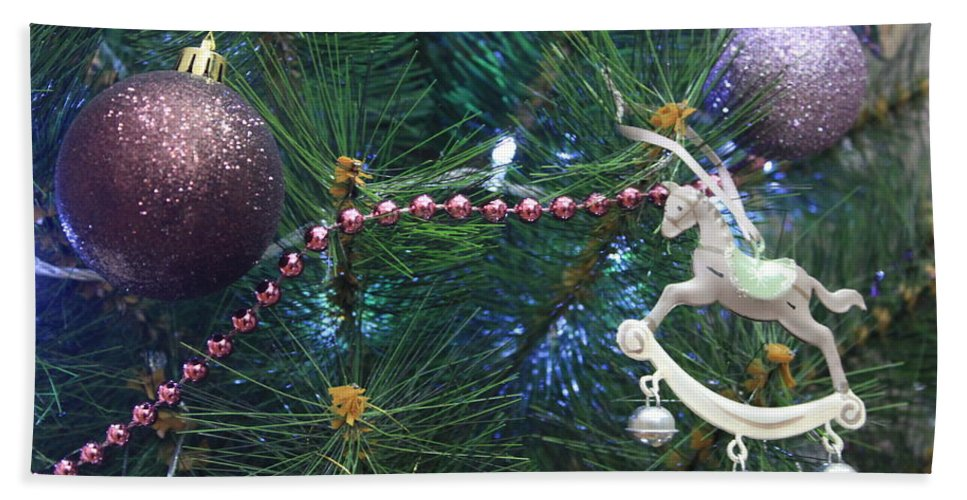 Abstract Hand Towel featuring the photograph Christmas Decoration by Didart Collection