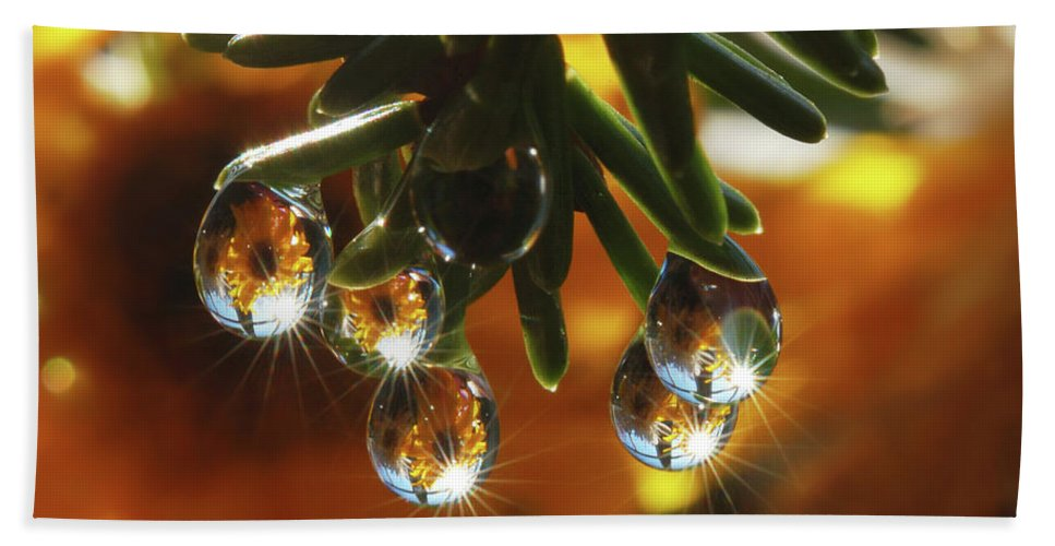 Microcosm Bath Sheet featuring the photograph Christmas Decorations by Yuri Hope