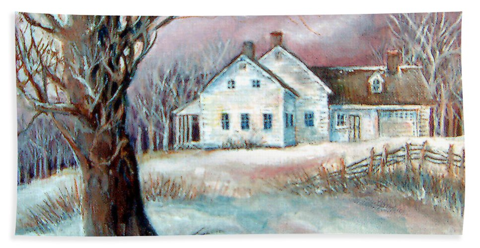Snow Hand Towel featuring the painting Christmas Destiny by Linda Shackelford