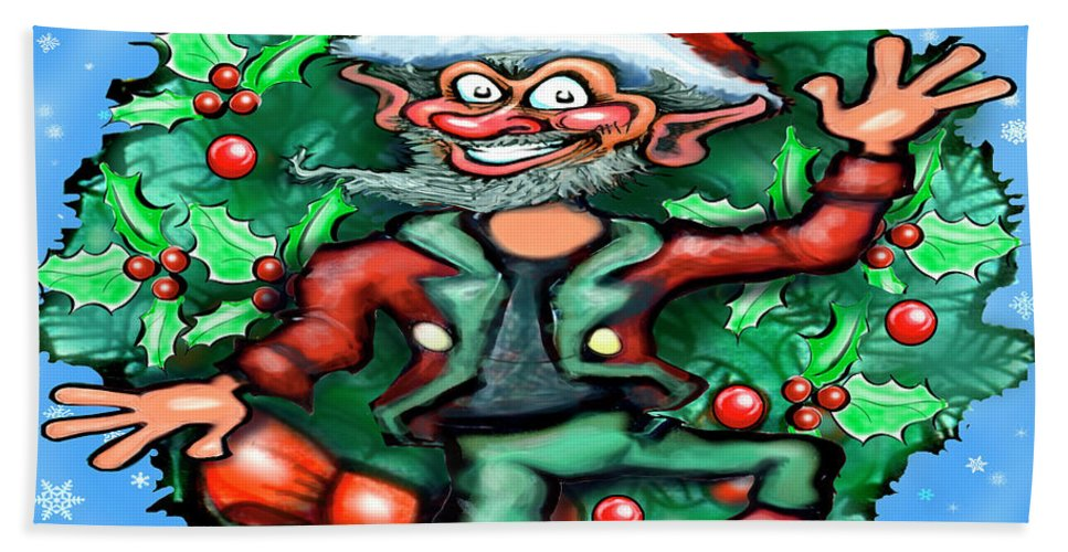 Christmas Hand Towel featuring the digital art Christmas Elf by Kevin Middleton