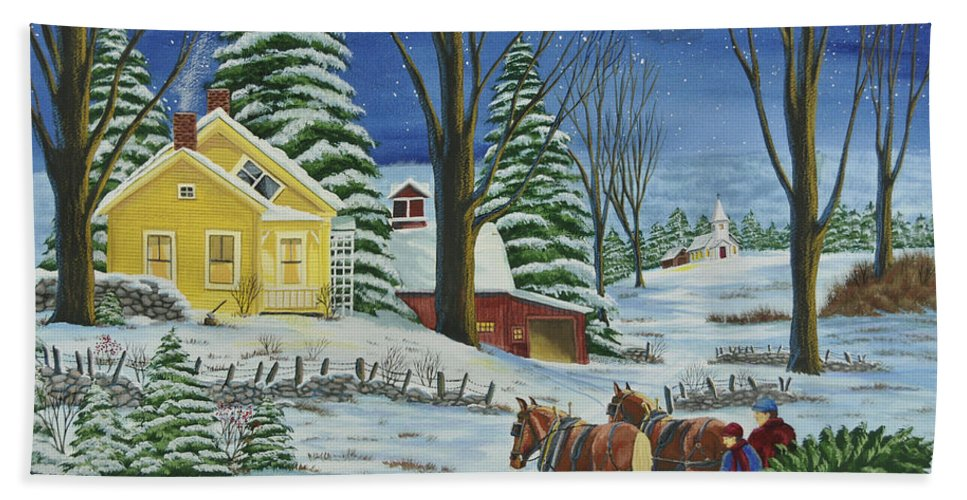 Winter Scene Paintings Hand Towel featuring the painting Christmas Eve In The Country by Charlotte Blanchard