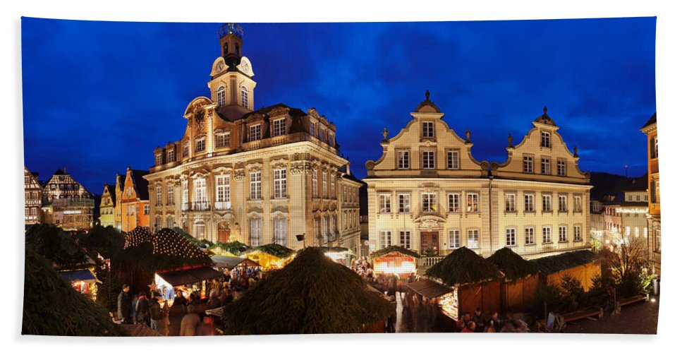 Photography Bath Sheet featuring the photograph Christmas Fair In Front Of Town Hall by Panoramic Images