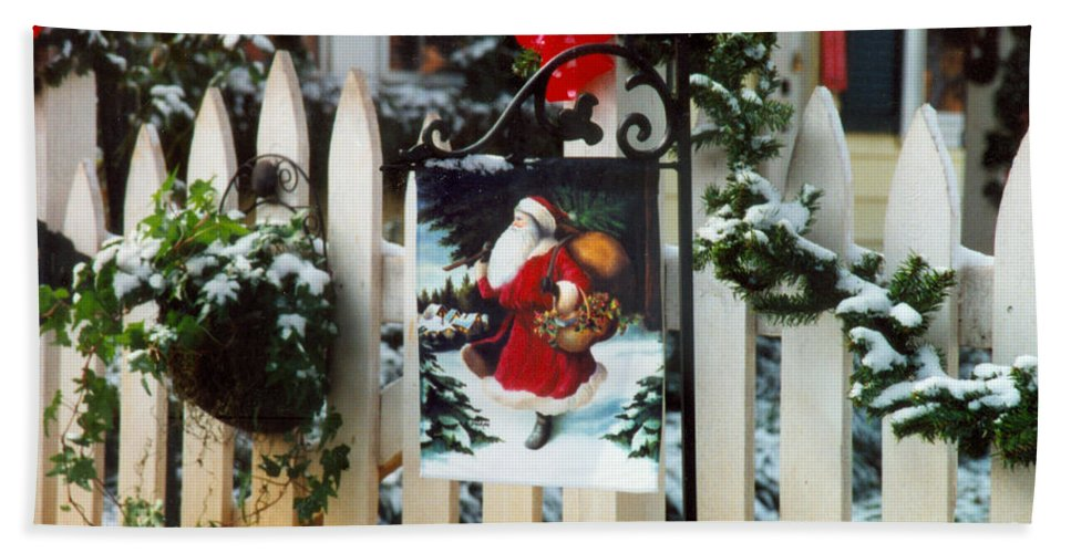 Christmas Flag Hand Towel featuring the photograph Christmas Flag by Dale Powell