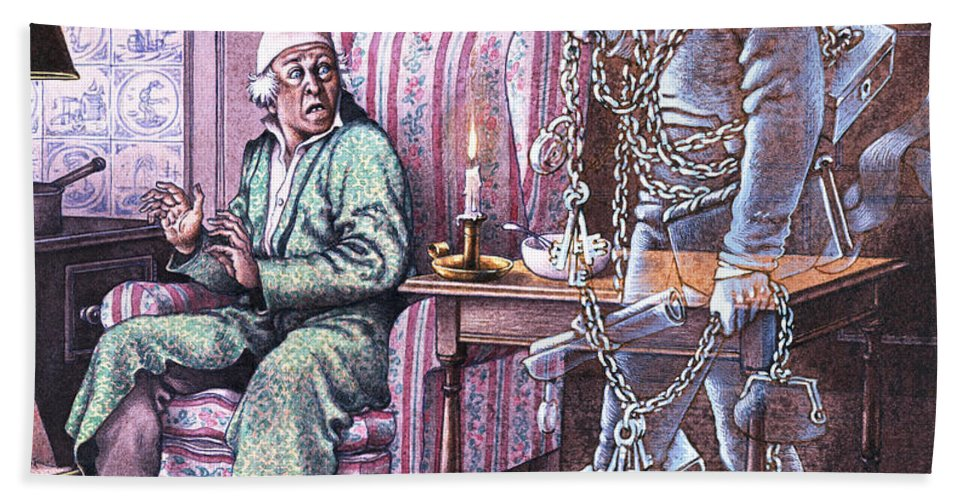 Scrooge Bath Sheet featuring the painting Christmas Ghost by Pat Nicolle