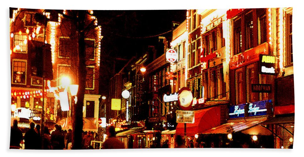 Night Hand Towel featuring the photograph Christmas In Amsterdam by Nancy Mueller