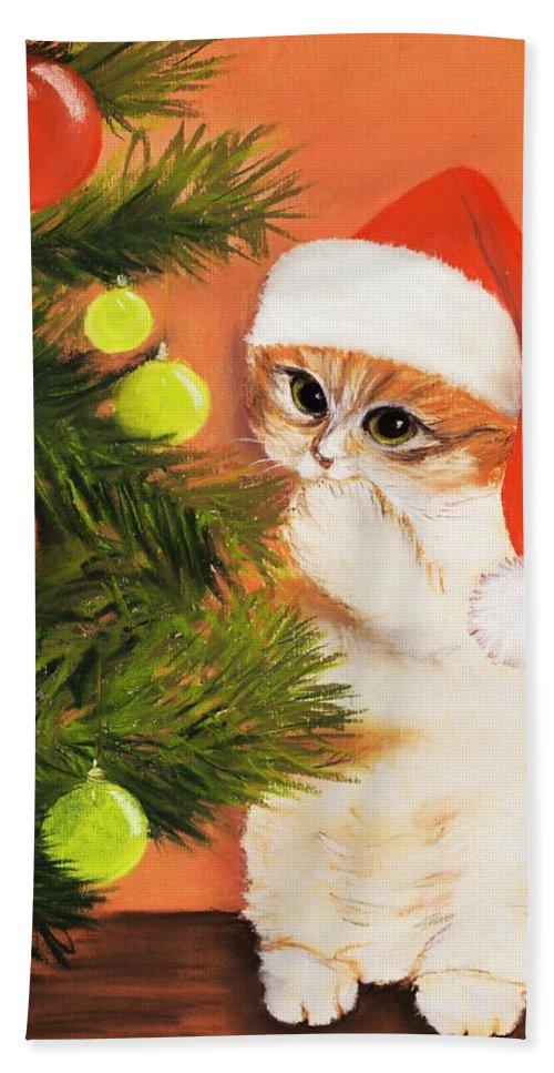 Malakhova Hand Towel featuring the pastel Christmas Kitty by Anastasiya Malakhova