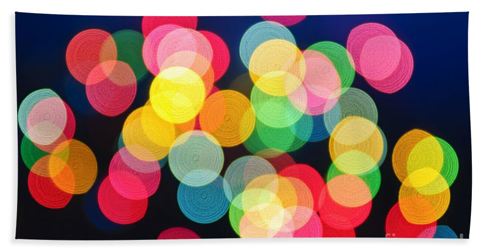 Blurred Bath Towel featuring the photograph Christmas Lights Abstract by Elena Elisseeva