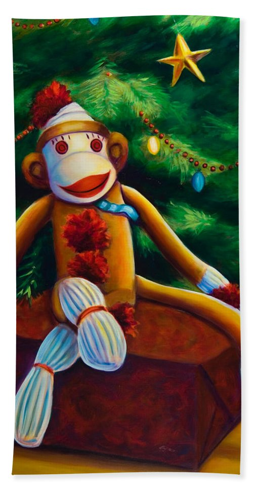 Sock Monkey Bath Sheet featuring the painting Christmas Made Of Sockies by Shannon Grissom