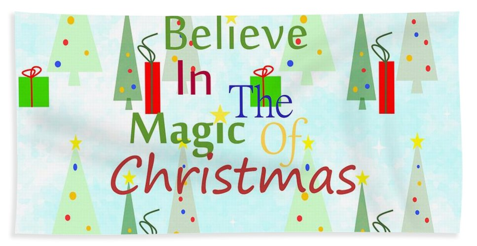 Christmas Art Hand Towel featuring the mixed media Christmas Magic by Kathleen Sartoris
