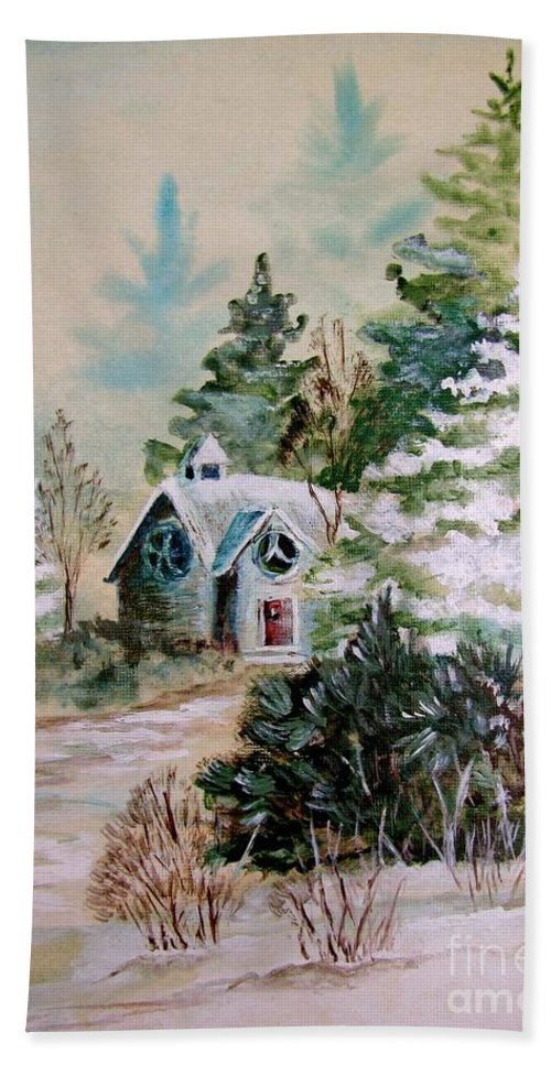 Chapel Bath Sheet featuring the painting Christmas Morn by Marilyn Smith