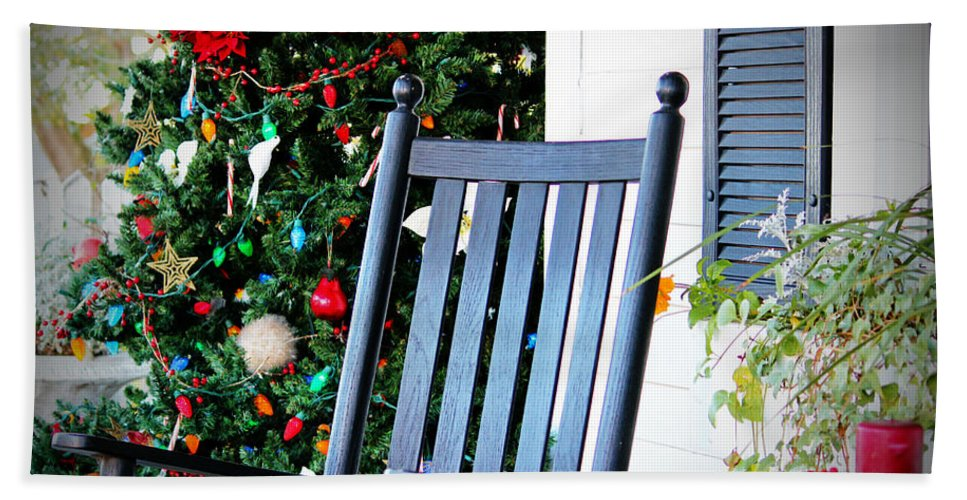 Porch Hand Towel featuring the photograph Christmas On The Porch by Cynthia Guinn