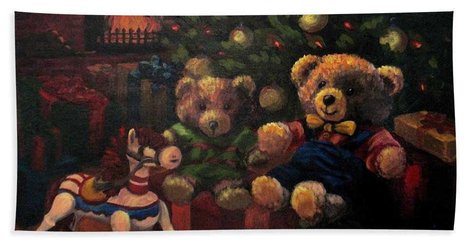 Christmas Hand Towel featuring the painting Christmas Past by Karen Ilari