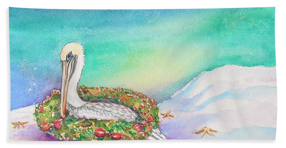 Pelican Hand Towel featuring the painting Christmas Pelican by Patricia Piffath