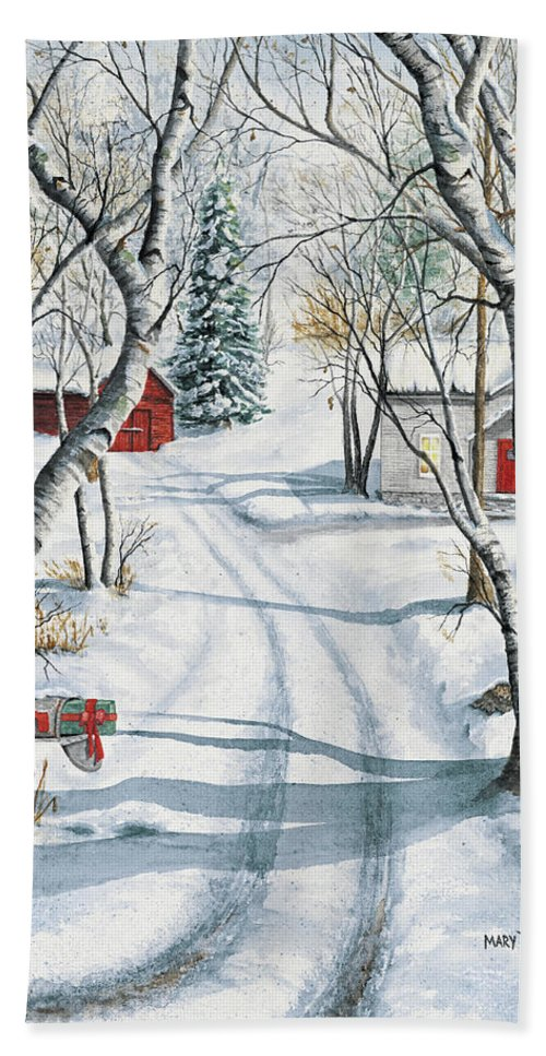 Christmas Bath Sheet featuring the painting Christmas Surprise by Mary Tuomi