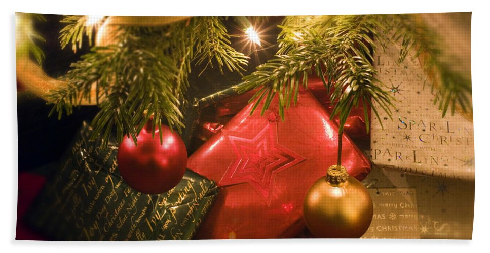 Christmas Bath Sheet featuring the photograph Christmas Tree Decorations And Gifts by Mal Bray