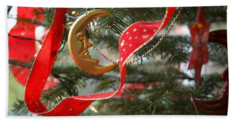 Christmas Hand Towel featuring the photograph Christmas Tree Decorations by Mal Bray