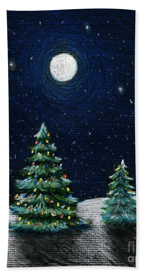 Christmas Trees Bath Towel featuring the drawing Christmas Trees In The Moonlight by Nancy Mueller