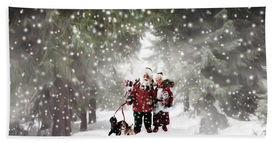 Christmas Bath Sheet featuring the painting Christmas Walking by Johanne Dauphinais