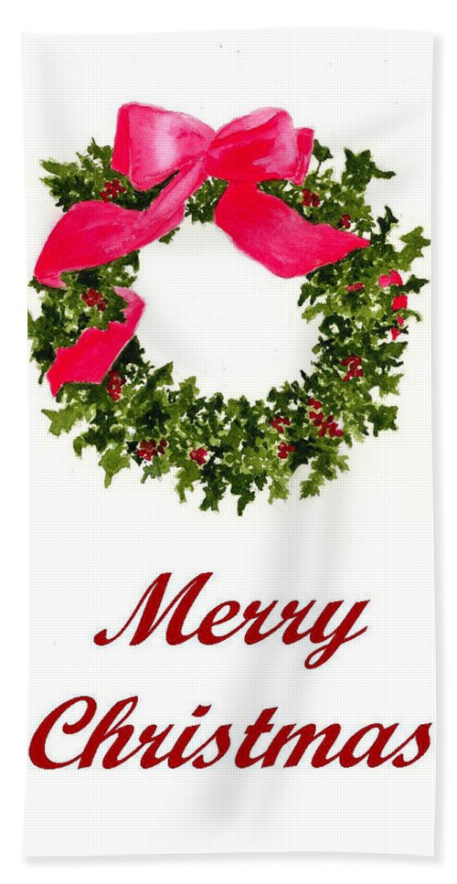 Christmas Hand Towel featuring the painting Christmas Wreath by Michael Vigliotti