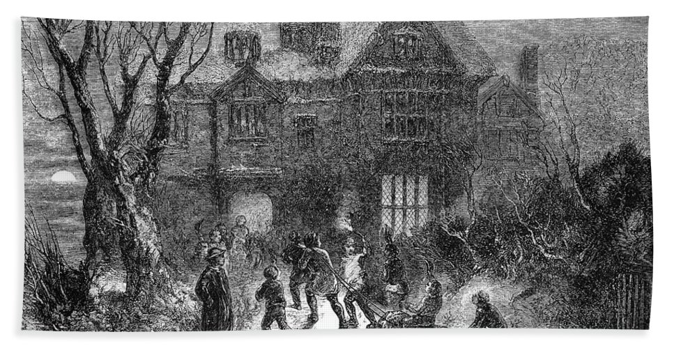 1854 Bath Sheet featuring the photograph Christmas: Yule Log by Granger