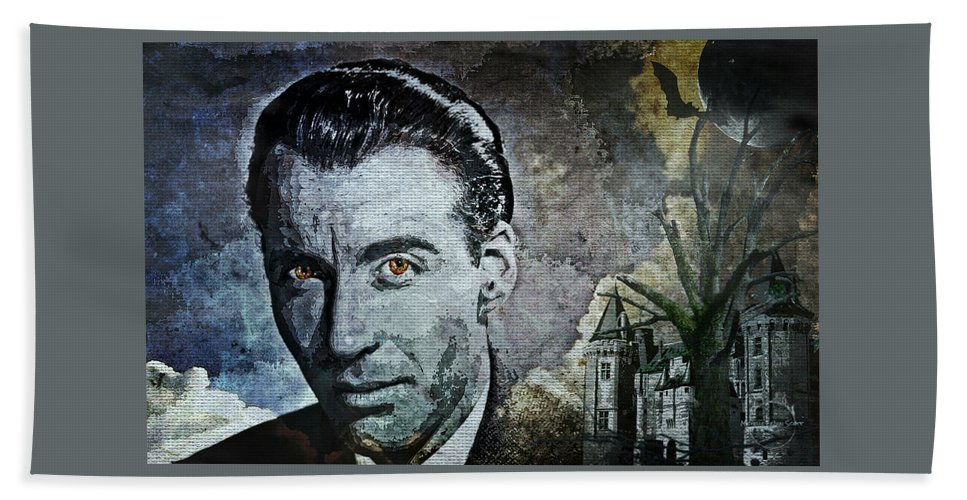 Christopher Lee Bath Sheet featuring the digital art Christopher Lee by Absinthe Art By Michelle LeAnn Scott