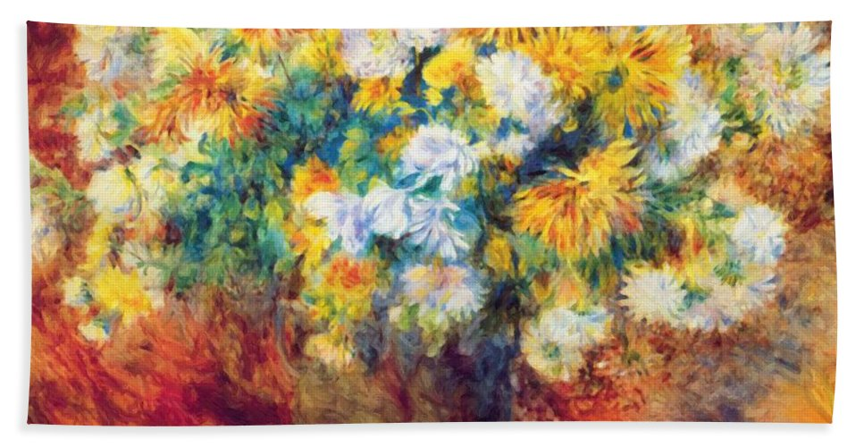 Chrysan Hand Towel featuring the painting Chrysan The Mums 1882 by Renoir PierreAuguste