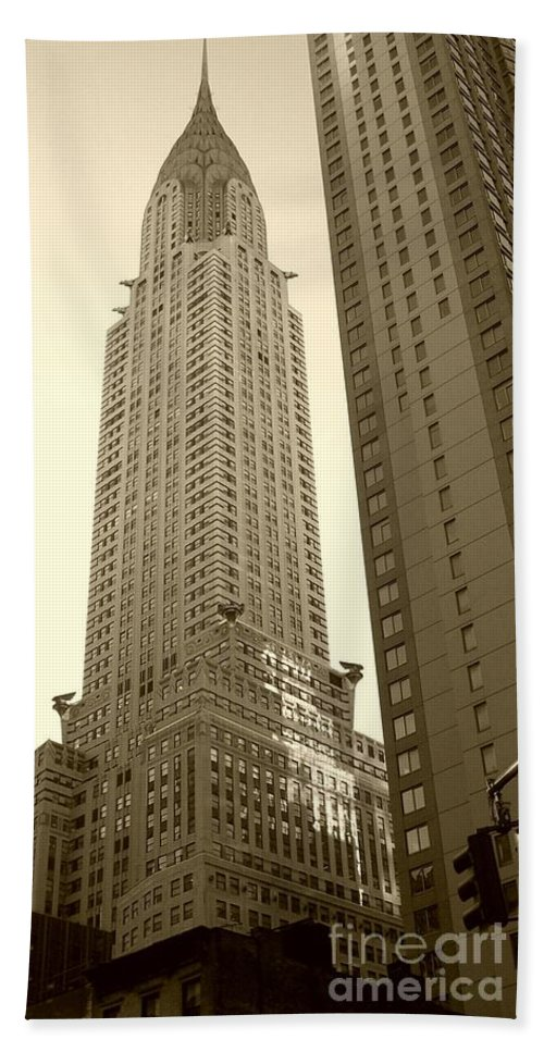 New York Bath Sheet featuring the photograph Chrysler Building by Debbi Granruth