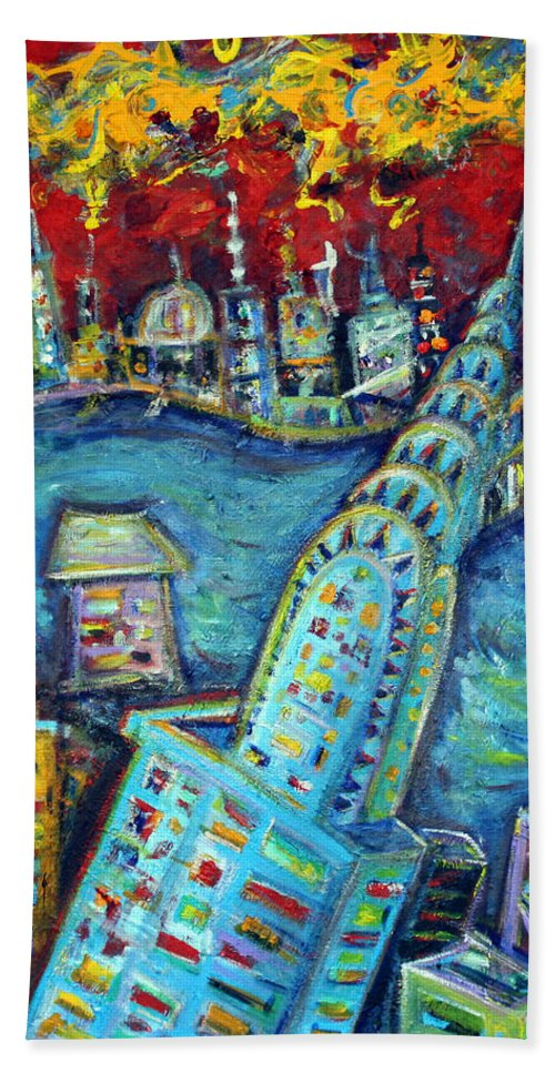 New York City Hand Towel featuring the painting Chrysler Building by Jason Gluskin
