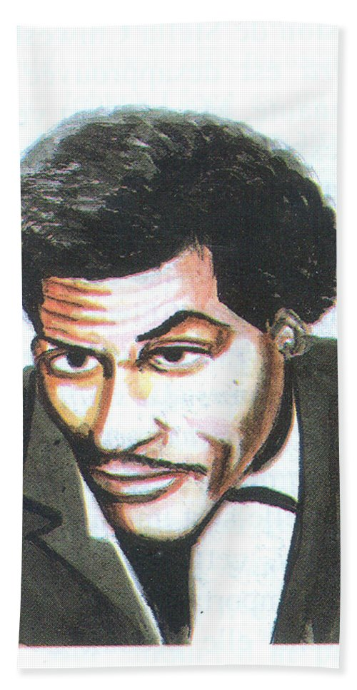Music Hand Towel featuring the painting Chuck Berry 45 by Emmanuel Baliyanga