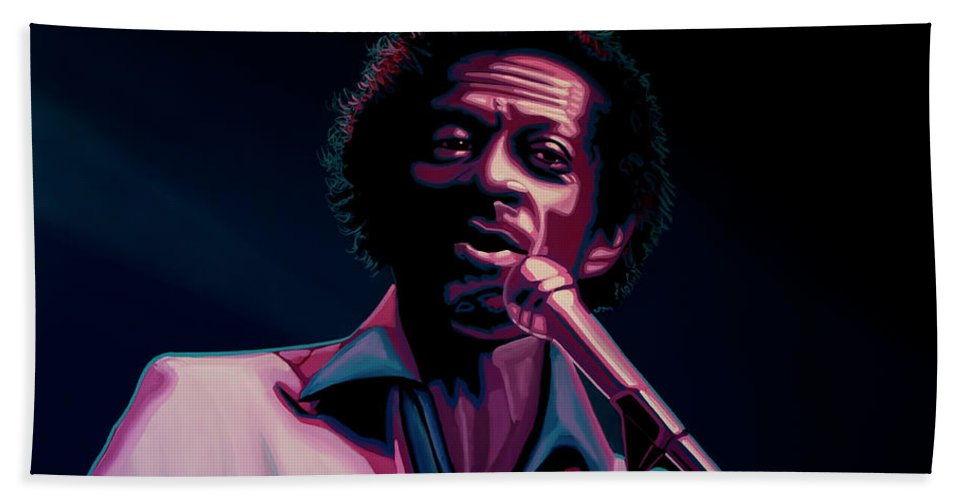 Chuck Berry Bath Towel featuring the painting Chuck Berry by Paul Meijering