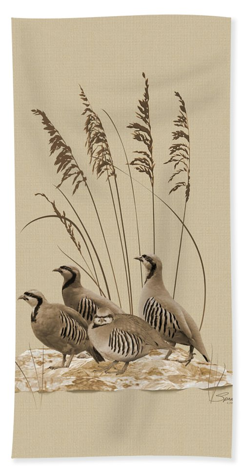 Partridge Hand Towel featuring the digital art Chukar Partridges by M Spadecaller