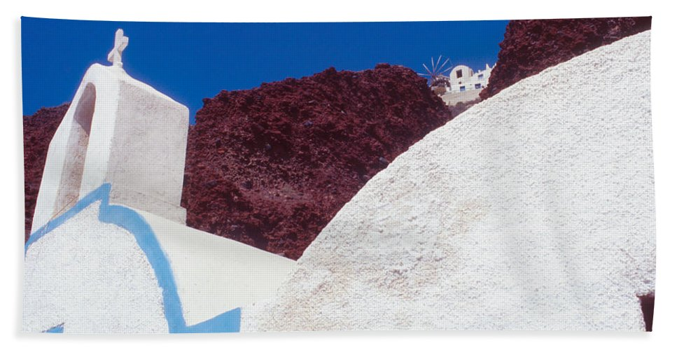 Greece Hand Towel featuring the photograph Church And Windmill In Santorini Greece by Yuri Lev