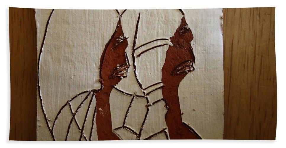 Jesus Bath Sheet featuring the ceramic art Church Day - Tile by Gloria Ssali
